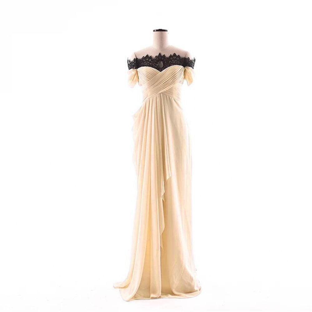 Champagne Dydsz Women's Evening Party Dresses Mermaid Long Prom Dress Off Shoulder Lace D275