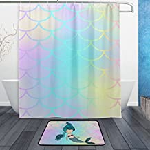 YZGO Pink Mermaid Tail Fish Scale Shower Curtain Polyester Fabric Bathroom Curtain Set with Mats Rugs-12 Hooks