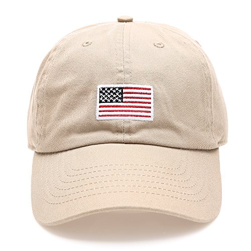 (MIRMARU USA American Flag Embroidered 100% Cotton Low Profile Adjustable Strap Baseball Cap Hat(Flag-Khaki) )