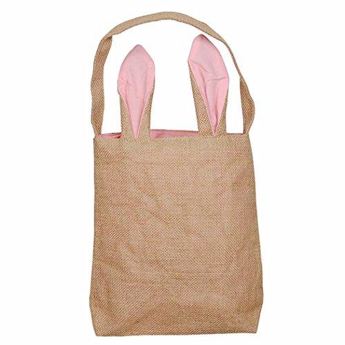MIOIM Bolsa de conejito de Pascua de doble capa de bricolaje bolsa de embalaje para el favor del partido de Pascua Rosa