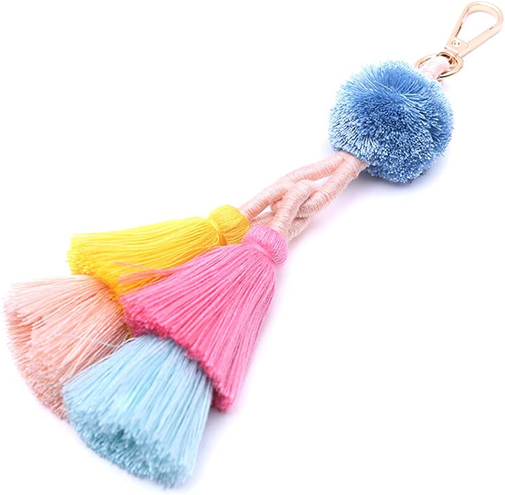 Fashion Accessories for Tassel Pom Pom Key Chain Colorful Boho Charm Key Ring