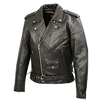 Men's Leather Motorcycle Jacket | Premium Natural Buffalo Leather | 2 Concealed Carry Gun Pockets | Adjustable Side Lace Biker Jacket with Patch Access Lining (Black, 4XL): Automotive