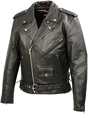 Men/'s Genuine Buffalo Patch Leather Classic Motorcycle Biker Jacket Coat Belt