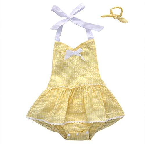 [Baby Girls Ruffle Halter Backless Romper Dress with Headband (90(12-18M))] (Baby Animal Dresses)