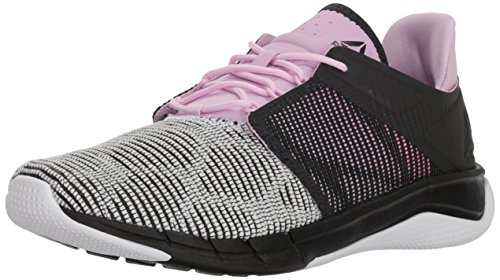 Reebok Women's Fast Flexweave, Coal/White/Moonglow/Acid Pink, 5 M US