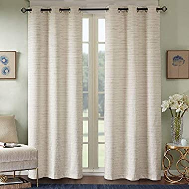 Comfort Spaces Grasscloth Blackout Window Curtain Pair / 2 Pieces Panels Grommet Top Energy Efficient Saving Drapes for Living Room Bedroom and Dorm, 84 inch, Ivory