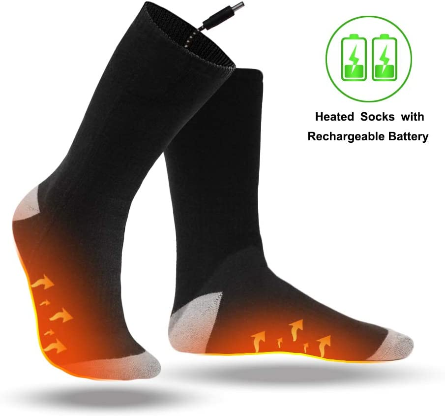 Electric Heated Socks with Rechargeable Battery Powered, Washable Heating Socks with 3 Temperature Keep Foot Warm Fits Men and Women, Foot Warmer Socks for Hunting, Camping, Hiking, Motorcycle Black