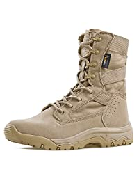 "FREE SOLDIER Men's Tactical Boots 8"" inch Lightweight Combat Boots Durable Suede Leather Military Work Boots Desert Boots"