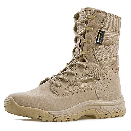 FREE SOLDIER Men's Tactical Boots 8 Inches Lightweight Combat Boots Durable Suede Leather Military Work Boots Desert Boots (Tan, 10) (Desert Boots Size 10)
