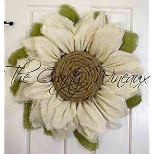 White Burlap Sunflower Wreath by The Crafty WineauxTM 42