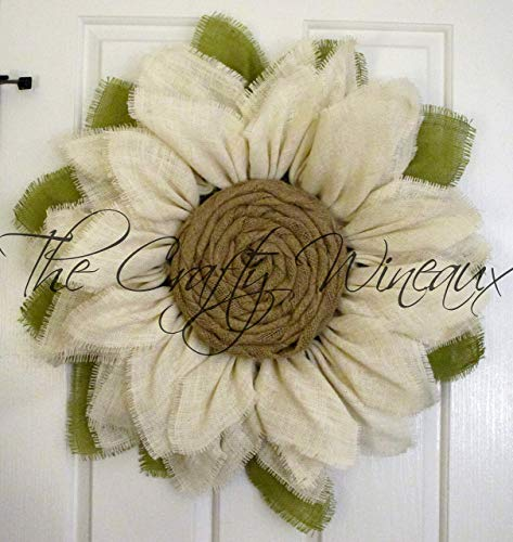 White Burlap Sunflower Wreath by The Crafty WineauxTM (Door Wreaths Fall Sale)