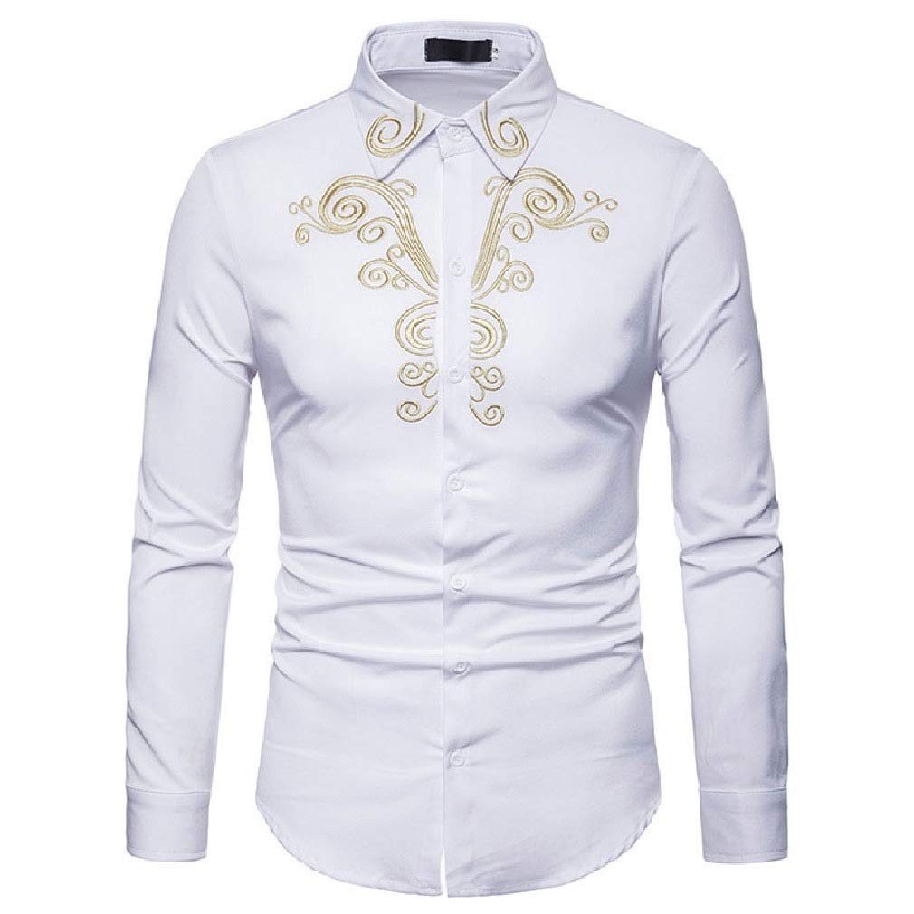 Vska Mens Long Sleeve Casual Embroidered Shirts Slim Fit Button Down Shirt