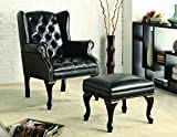 Cheap Coaster Traditional Espresso Wing Back Button Tufted Accent Chair with Ottoman