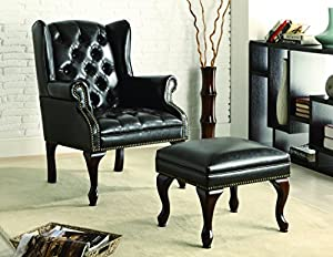 Traditional armchair with matching ottoman