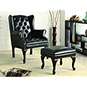 Coaster Traditional Espresso Wing Back Button Tufted Accent Chair with Ottoman
