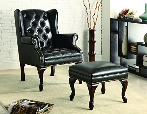Asian Living Room Chair - Coaster Home Furnishings Wing Back Button Tufted Accent Chair and Ottoman Black and Espresso