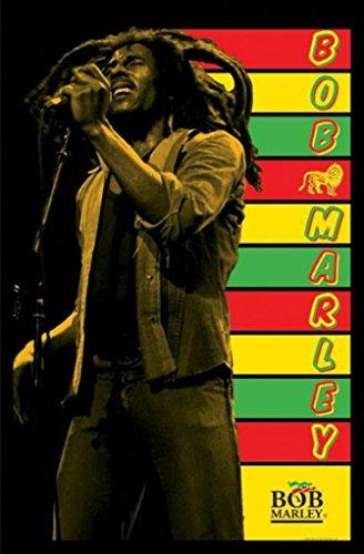 Pyramid America Bob Marley-Stripes, Music Blacklight Poster Print, 23 by 35-Inch
