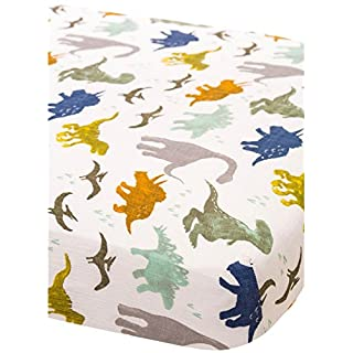 Little Unicorn Cotton Muslin Fitted Sheet - Dino Friends, Blue, Green, Navy
