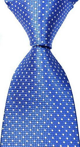 EXT Collectino New Classic Checked Dot Fashion Elegant Formal Business Tie JACQUARD WOVEN Men's Suits Groom Wedding Marriage Party Ties (Blue) (Suit Wedding Silk)