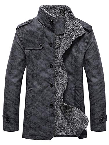 KENANCY Men's Classic Winter Suede Faux Fur Velvet Jacket Epaulet Design Stand Collar Single Breasted Coat (Collar Single)