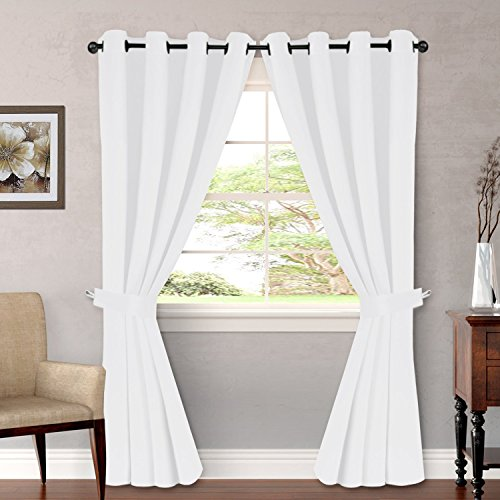 "H.VERSAILTEX Pure White Curtains for Bedroom Window Treatment Grommet Kitchen Drapes for Doors White Curtains 84 Inches Long Thermal Insulated 2 Panles of 52"" x 84"", Bonus 2 Valances of 52"" x 18"""