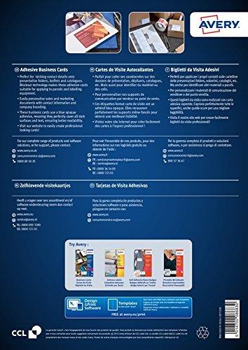 AVERY C32019 10 Lot De 100 Tiquettes Au Format Cartes Visite Autocollantes Blanc Mat 85 X 54 Mm Amazonfr Fournitures Bureau