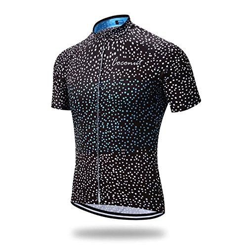 Black Mens Bike Jersey - Runmaner Men's Cycling Jersey Short Sleeve Bike Clothing (Large, Black)