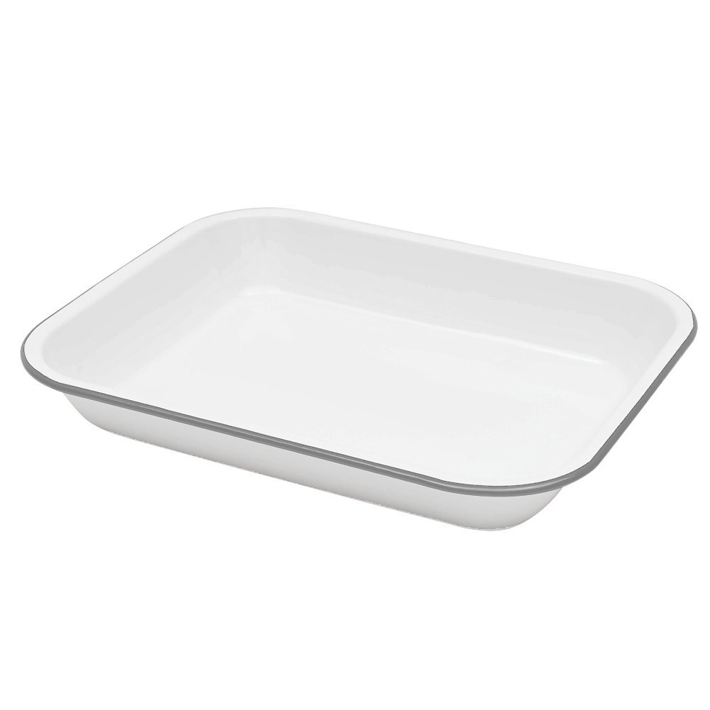 Enamelware Large Roasting Pan - Solid White with Grey Rim
