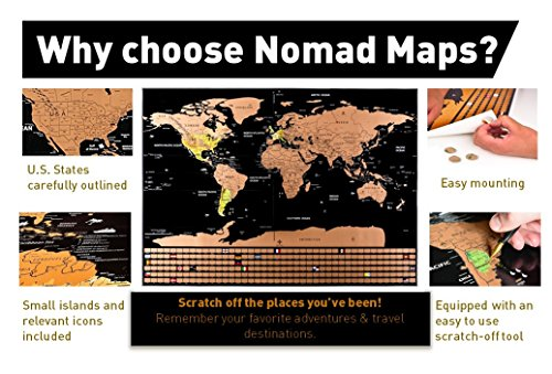 Nomad Maps Scratch Off World Map Poster- Detailed with U.S. States and Includes all Country Flags, comes with Scratch Off Accessories, Large Sized Poster, Travel Tracker Photo #8