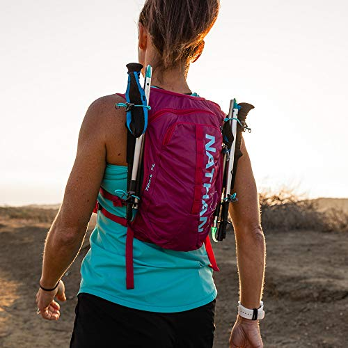 Nathan TrailMix Running Vest/Hydration Pack. 7L (7 Liters) for Men and Women | 2L Bladder Included (2 liters). Zipper, Phone Holder, Water (Sangria/Magenta Purple/Sky Blue, One Size Fits Most) by Nathan (Image #6)