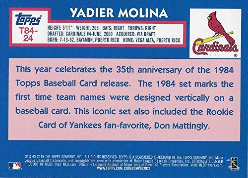 Louis Cardinals 2019 Topps Series 1 Baseball Silver Wrapper Packs Chrome 1984 84 Refractor #T84-24 Yadier Molina St