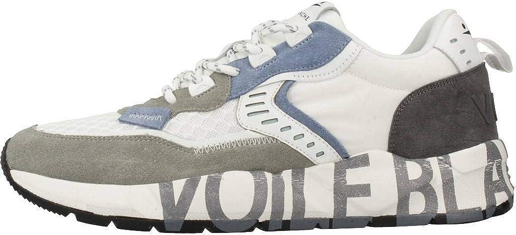VOILE BLANCHE Art Club01 Sneaker Uomo Comoda in Tessuto e Pelle Bianco