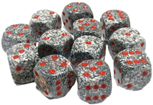 Christmas Dice Game (Custom & Unique {Standard Medium 16mm} 12 Ct Dozen Pack Set of 6 Sided [D6] Square Cube Shape Playing & Game Dice Made of Plastic w/ Rounded Corner Edges w/ Speckled Marble Design [Black, Red & Gray])