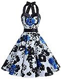 Dressystar Vintage Polka Dot Retro Cocktail Prom Dresses 50's 60's Rockabilly Bandage Blue Flower B XL