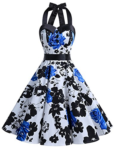 Dressystar Vintage Polka Dot Retro Cocktail Prom Dresses 50's 60's Rockabilly Bandage Blue Flower B XXL (50's Polka Dot)