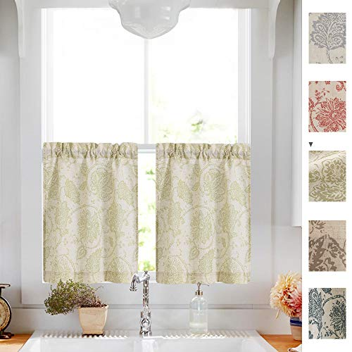 Tier Curtains 24 inch Scroll Print Sage Kitchen Curtains