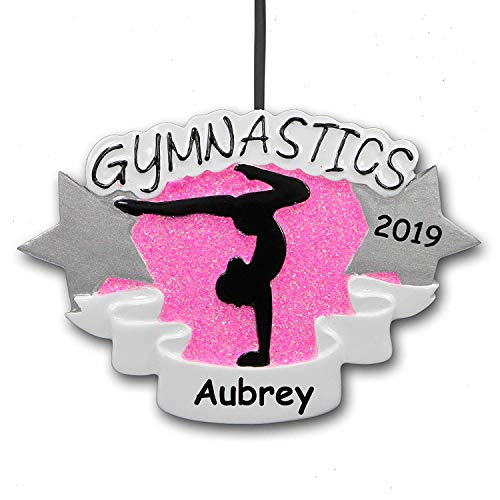 (Personalized 2019 Gymnastics Christmas Ornament Gift for Gymnast Sports Cheerleading Tumbling with Your Custom Name and)