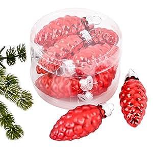 Diseño de bola de árbol de Navidad de primera calidad de 10er de cristal de 5 x 2 x2cm de colour rojo Navidad