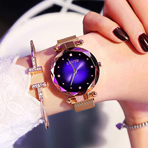(Yunanwa Relojes Mujer Women Watches Rose Gold Romantic Starry Sky Dress Wrist Watch Crystal Rhinestone Ladies Clock Montre Femme Leather Brand with Gift Box (Magnetic Mesh Band-Blue))
