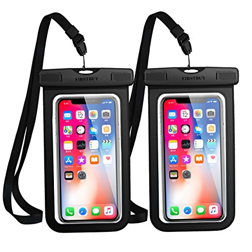 Universal Waterproof Case, 2 Pack Waterproof Phone Pouch Dry Bag with Sensitive PVC Clear Screen for iPhone X/8/8Plus/7/7plus, Samsung Galaxy S9/S8/Note 6/5/4, Google Pixel 2 HTC LG Sony Moto(Black)