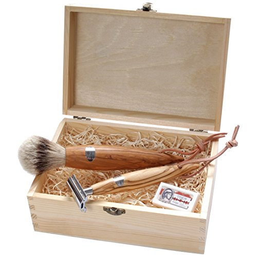 Seitz-Kreuznach - Shaving Set Olive Wood XL, Safety razor, Silvertip