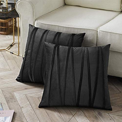 FTIMILD Set of 2 Corduroy Striped Soft Solid Decorative Square Throw Pillow Case Cushion Cover for Sofa Bed Car