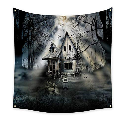 (Halloween Funny Tapestry Haunted House with Dark Horror Atmosphere Cloudy Mysterious Frightening Quote Tapestry Grey White Black 47W x 47L)