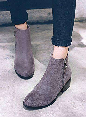 Up Boots SHOWHOW Women's Comfy Zip Short Heels Faux Low Gray Suede rzU0xwz1q