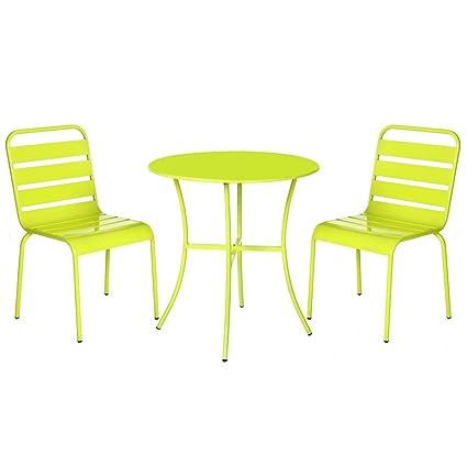 Conjunto de Mesa y sillas de terraza Verde de Acero Garden ...