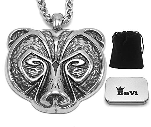 BaviPower Bear Head Pendant Animal Spirit Totem Necklace ♦ Stainless Steel ♦ Nordic Scandinavian Necklace ♦ Authentic Viking Jewelry (19.7)