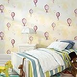 Kids room Non-woven wallpaper,Hot air balloon Girl Boy Bedroom Cartoon Environmental protection Wallpaper-C 0.53m10m(20.8x393.7inch)