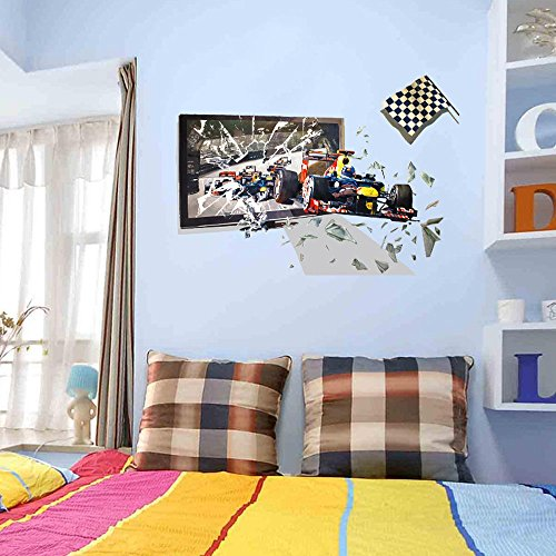 Fenleo 3D Racing Car Wall Decoration Removable Wall Stickers for Kids Rooms Bedroom Bathroom Living Room (Cars Removable Wall)