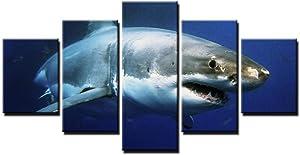 woplmh Home Decor Canvas Prints Pictures Wall Art -5 Pieces Blue Ocean White Shark Animal Paintings Living Room-40x60cmx2 40x80cmx2 40x100cmx1 / no Frame