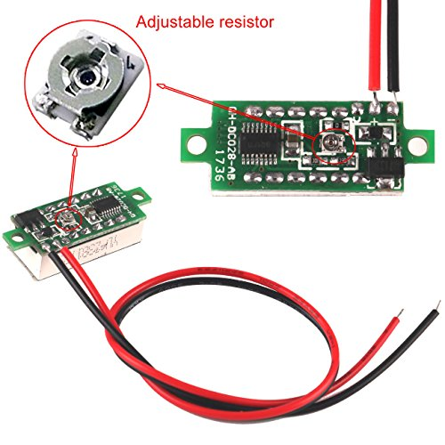 MakerFocus 5pcs Mini Digital DC Voltmeter 0.28 Inch Two-Wire 2.5V-30V Mini Digital DC Voltmeter Voltage Tester Meter 5 Colours by MakerFocus (Image #4)
